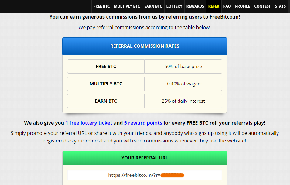 Earn free bitcoin from referrals bonuses
