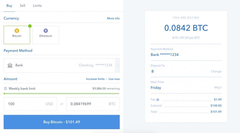 Pannello per comprare e vendere Bitcoin - selezione compra
