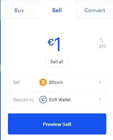 Pannello per comprare e vendere Bitcoin - Selezione vendita