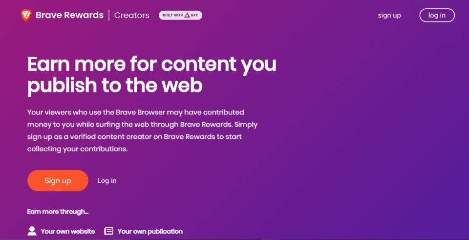 Brave creators homepage