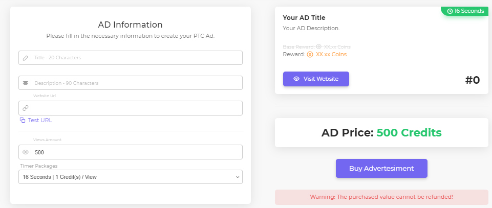 Create new ad panel