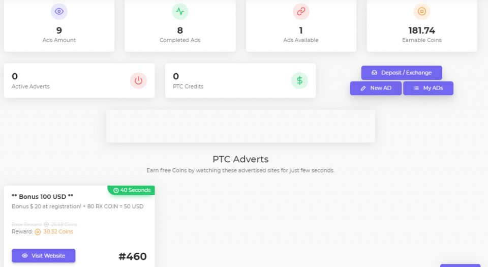 Earn free crypto completing PTC ads